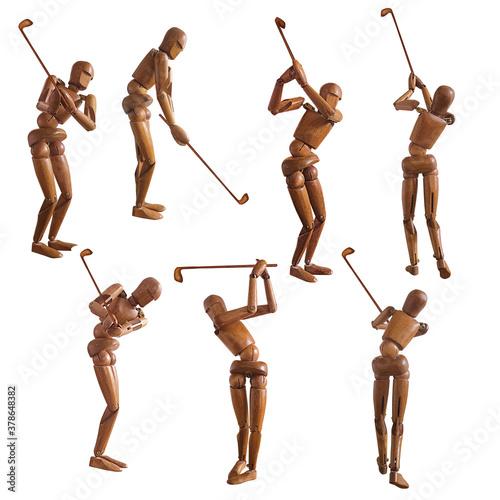 Photo bon homme, en bois, figurine, mouvement, pose, mascotte, silhouette, gens, danse