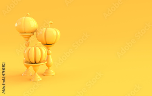 3d render pumpkin on pedestal background. Minimal concept. Holiday decoration pumpkin for celebration halloween event template