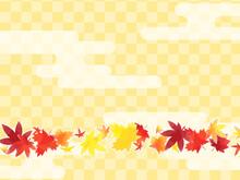 紅葉と市松模様の和風背景素材