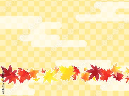 Obraz 紅葉と市松模様の和風背景素材 - fototapety do salonu