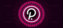 Polkadot Logo With Crypto Currency Themed Circle Background Design. Modern Pink Neon Color Banner For Polka DOT Token Icon. Cryptocurrency Blockchain Technology, Digital Trade Exchange Concept