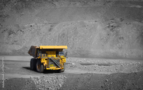 Obraz na plátně Spot color large yellow truck used in a modern coal mine in Queensland, Australia