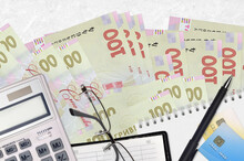 100 Ukrainian Hryvnias Bills And Calculator With Glasses And Pen. Tax Payment Concept Or Investment Solutions. Financial Planning Or Accountant Paperwork
