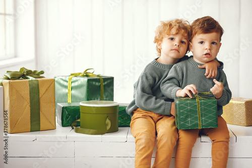 Fotografie, Obraz Cute little boys in a studio