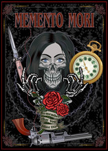 Memento Mori - Remember You Must Die. Black And White Skull Girl With Rose And Watch