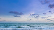 The atmosphere of the blue-purple sea is soft, beautiful, peaceful, relaxing.