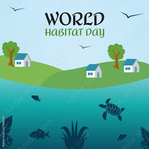 Fotografia Vector graphic of world habitat day good for world habitat day celebration