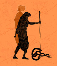 Tiresias Blind Greek Prophet Half Woman And Half Man Killing Two Snakes With A Stick