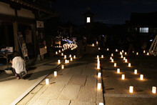 Line Of Candles Inside Okadera Temple During Lantern Festival In Asuka