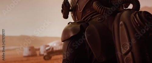 Fotografie, Tablou Back view of astronaut wearing space suit walking on a surface of a red planet