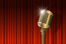 Gold Vintage Microphone Illuminated And Red Curtain Background. Retro Music Concept. Mic On Empty Theatre Stage. Stand Up Comedy Night Show. Karaoke Party Vector Eps Art Illustration