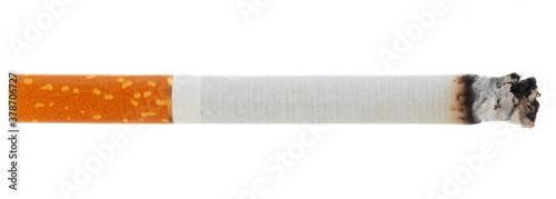 Fotografie, Obraz Lit cigarette isolated on white background close up