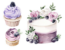 Watercolor Cake And Cupcakes With Cream And Berries