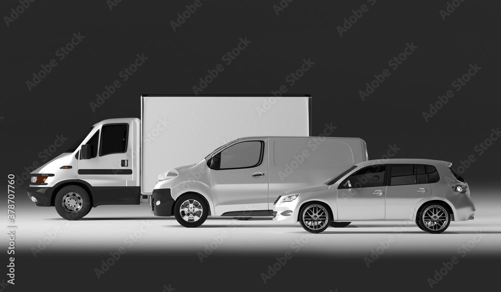 Fototapeta White mini Truck car mock up