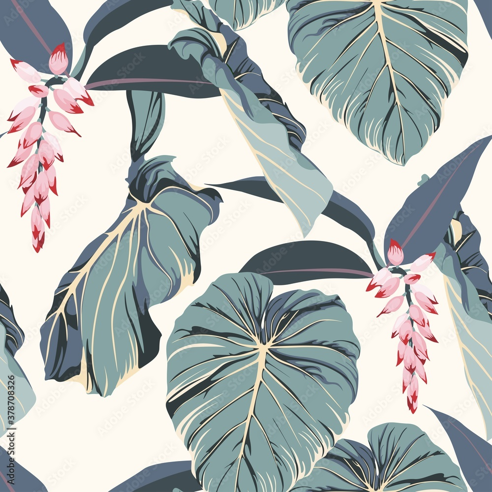 Fototapeta Tropical seamless pattern with exotic blue leaves and pink flowers. Light yellow background.