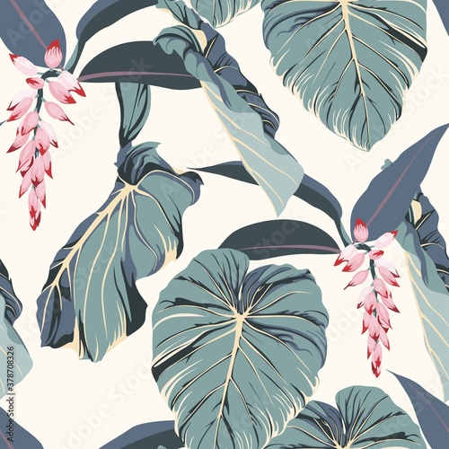 Tropical seamless pattern with exotic blue leaves and pink flowers Fotobehang