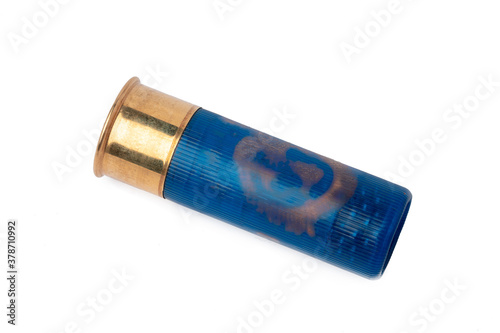 Shotgun shell cartridge isolated on white background Canvas Print