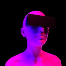 Human In VR Glasses On Black B...