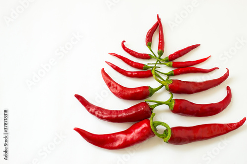 red bitter chili pepper in the form of a christmas tree on a white clean backgro Fototapet