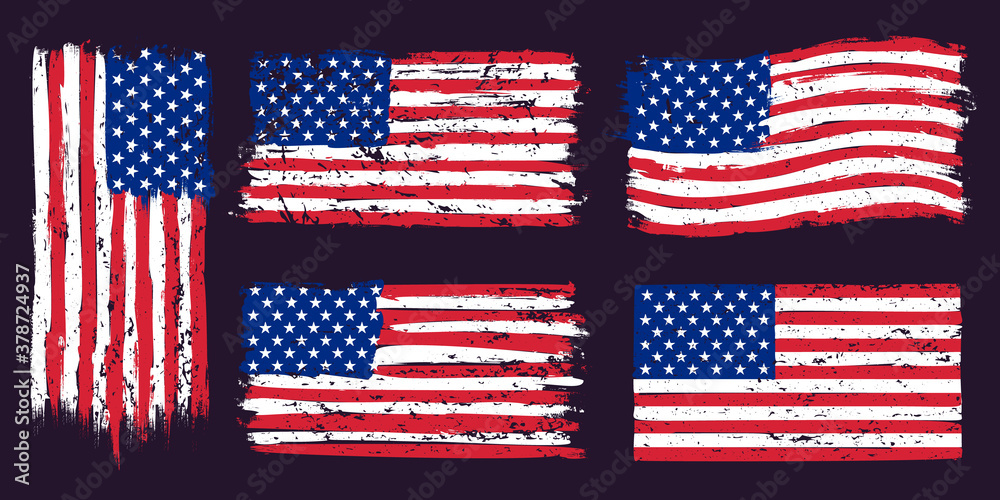 USA american grunge flag. US flags graphic design with stars and stripes and grunge texture. T-shirt print, wallpaper design vector set. USA national flag for holiday celebration illustration