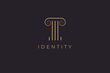 Abstract Initial Letter T Logo, Letter T With Gold Colour Logo Design Template, Vector Illustration