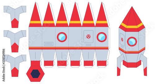 Fotografie, Obraz Rocket paper cut toy