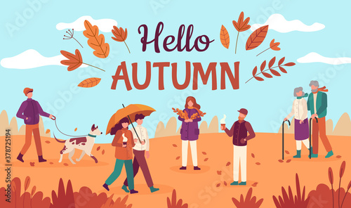 Fototapeta Hello autumn. Happy people walk in public park, red yellow trees and falling leaves, healthy lifestyle in fall season vector background. Couple going with umbrella, old man and woman with sticks obraz