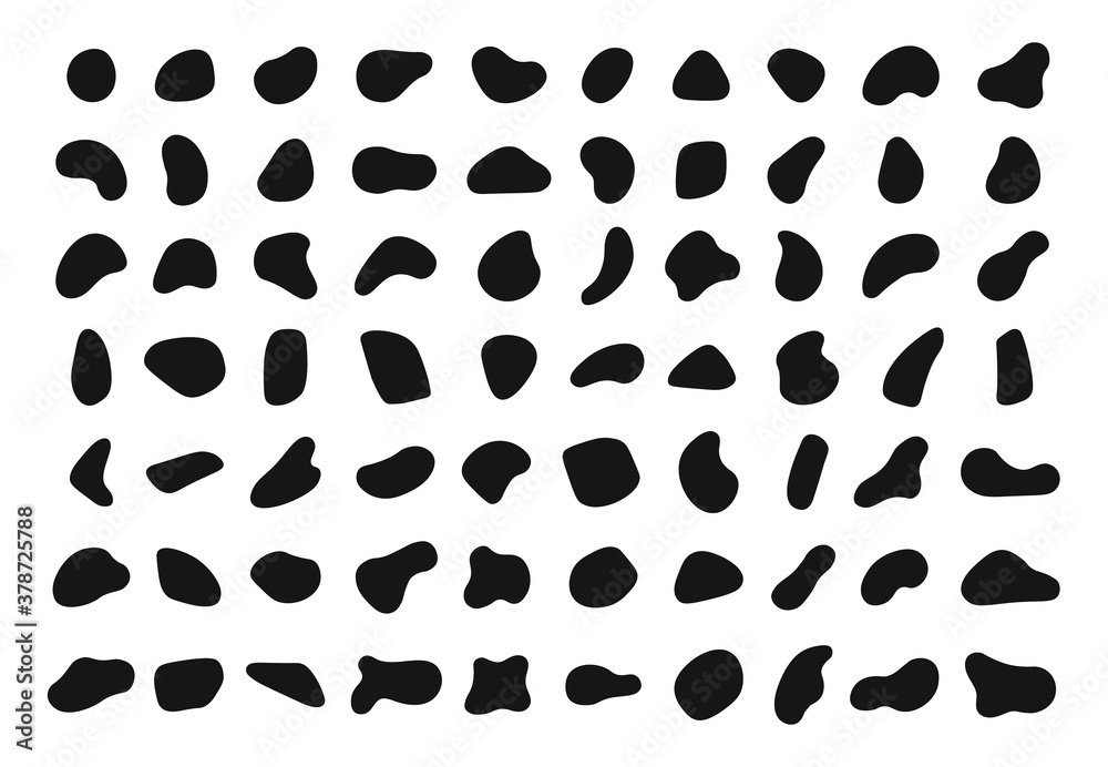 Fototapeta Random shapes. Black blobs, round abstract organic shape collection. Pebble, drops and stone silhouettes. Blotch, inkblot texture vector set. Rounded spot or speck of irregular form