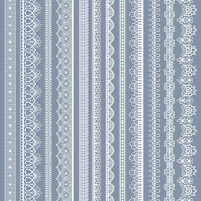 Lace Seamless Borders. Vintage Ornamental Lace Strips With Floral Pattern, Embroidered Ornate Eyelets Handmade Textile Ribbons Vector Set. White Cotton Stripes For Fabric And Scrapbook