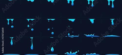 Slika na platnu Dripping water animation, water splashes for game development