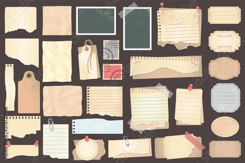 Old scrapbook paper pieces, stamps and labels Fotobehang