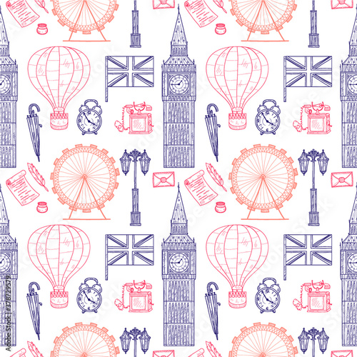 Tapety Angielskie  wzor-z-witamy-w-wielkiej-brytanii-recznie-rysowane-ikony-kolekcja-powiazana-z-wektorem-doodle-w-wielkiej-brytanii