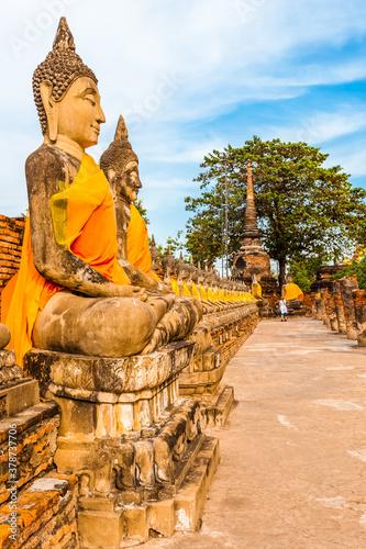 Fotografie, Obraz buddha statue,  Wat Yai Chai Mongkol, Ayutthaya, Thaïland