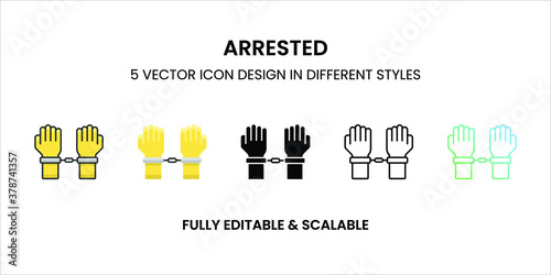 Foto Arrested vector icon in colored outline, flat, glyph, line and gradient