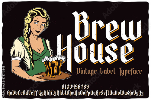Fototapeta Vintage label font named Brew House. Blackletter typeface for any your retro design like posters, t-shirts, logo, labels etc. obraz