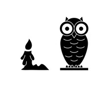 Doodle Halloween Set Ison Isolated On White. Stencil Owl And Candle. Vector Stock Illustration. EPS 10