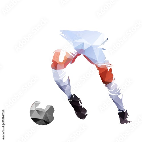 Fototapeta Soccer player running with ball, polygonal abstract isolated vector illustration. Footballer geometric drawing, low poly style obraz