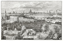 Overall Top View Of London Cityscape From The York Column. Building And Chimneys. Ancient Engraving Style Art By Unidentified Author, The Penny Magazine, London 1837