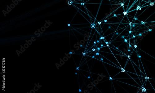 Obraz na plátně rete, intrecciata, condivisioni, network, tecnologia
