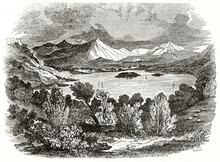 Mountain Landscape With Woods And Lake On Center Skiddaw, England. Ancient Engraving Grey Tone Art By Unidentified Author, The Penny Magazine, London 1837