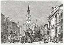 Old Funerary Procession Along The Strand, London, Front Viewed, Church And Buildings. Ancient Engraving Grey Tone Art By Unidentified Author, The Penny Magazine, London 1837