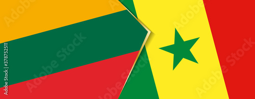 Lithuania and Senegal flags, two vector flags. Canvas-taulu