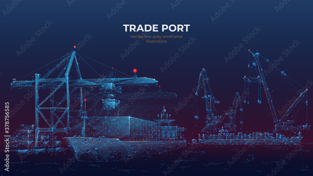Fototapeta Trade port low poly wireframe banner template. Digital vector cargo ship, container, crane and warehouse in dark blue. Container ships, transportation, logistics, business, worldwide shipping concept
