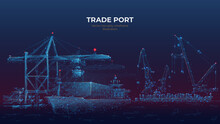 Trade Port Low Poly Wireframe ...