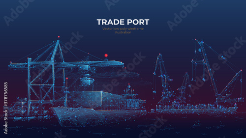 Fototapeta Trade port low poly wireframe banner template. Digital vector cargo ship, container, crane and warehouse in dark blue. Container ships, transportation, logistics, business, worldwide shipping concept obraz
