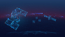 3d Satellites Polygonal Art Illustration. Wireless Satellite Technology, Communication Or Network Concept. Abstract Vector Color Wireframe. Digital Space Dark Image With Blue Lines, Dots And Stars