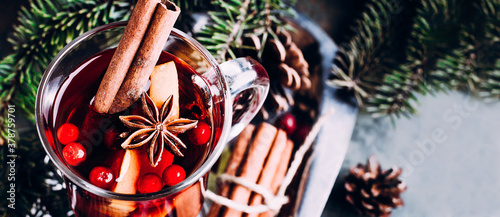 Fototapeta Christmas Mulled Wine with holiday decoration. Winter holiday drink obraz