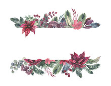 Watercolor Hand Painted Wreath With Red Flowers And Green Leaves.Watercolor Floral Illustration With Branches - For Wedding Invite, Stationary, Greetings, Wallpapers, Background. High Quality