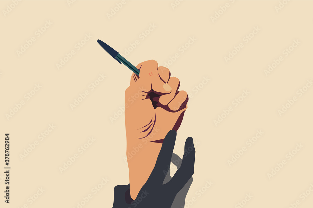Fototapeta Concept of freedom of speech and information, stop censorship. Hand holding an open pen. It is dragged down by another hand. Vector Illustration with light yellow background