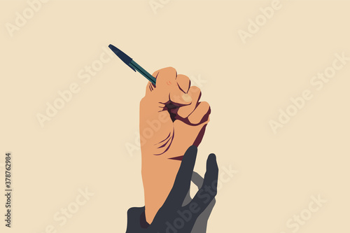 Obraz Concept of freedom of speech and information, stop censorship. Hand holding an open pen. It is dragged down by another hand. Vector Illustration with light yellow background - fototapety do salonu